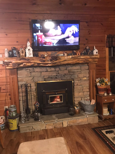Shady Rest 2 Bedroom Log Cabin Fireplace photo in Gatlinburg - Pigeon Forge Tennessee